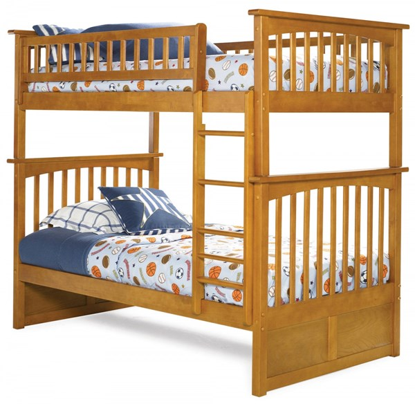 Columbia Caramel Latte Wood Twin/Twin Built In Ladder Bunk Bed AB55107