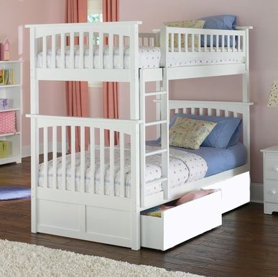 Columbia Classic White Wood Twin/Twin Flat Panel Drawers Bunk Bed AB55112
