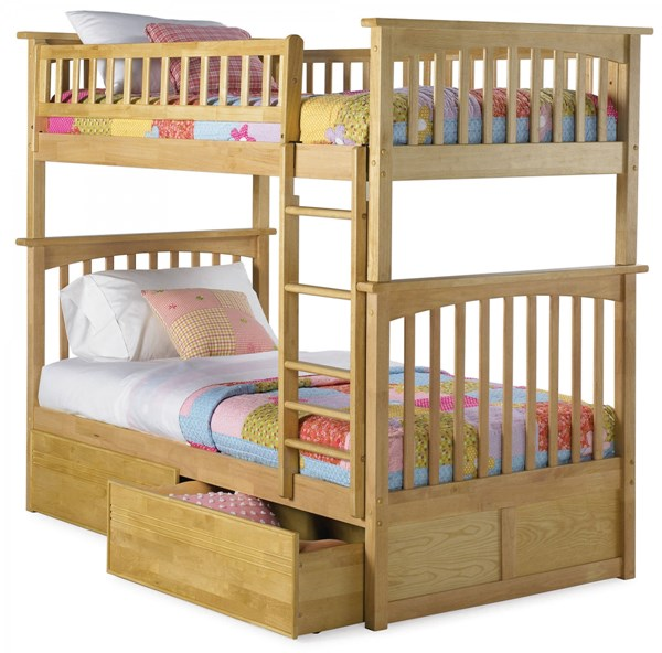 Columbia Natural Maple Wood Twin/Twin Flat Panel Drawers Bunk Bed AB55115
