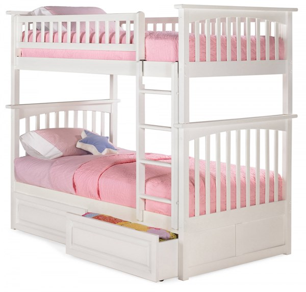 Columbia White Wood Twin/Twin Raised Panel Drawers Bunk Bed AB55122