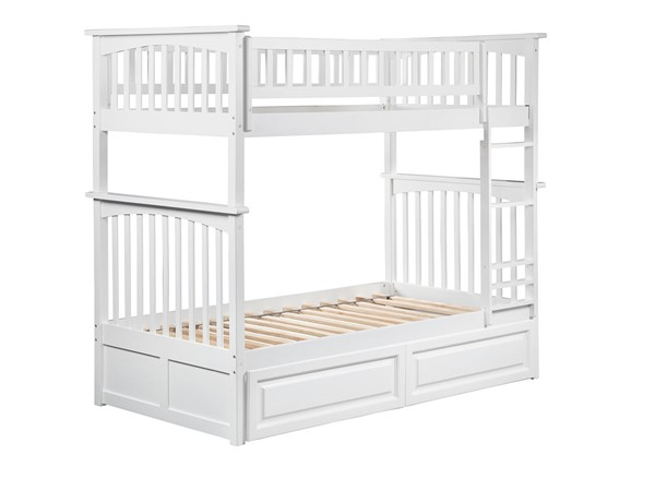 Atlantic Furniture Columbia White Twin Over Twin Bunk Bed with 2 Raised Panel Drawers AB55122