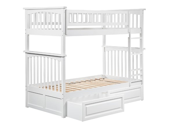 Atlantic Furniture Columbia White Twin Over Twin Bunk Bed with Raised Panel Drawers AB55122