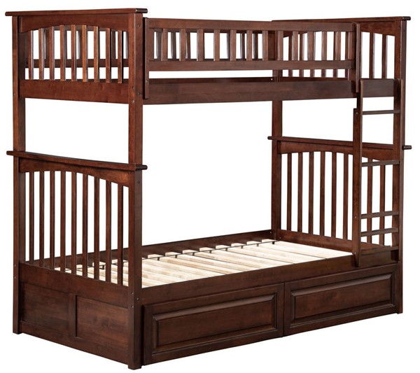 Atlantic Furniture Columbia Walnut Twin Over Twin Bunk Bed with 2 Raised Panel Drawers AB55124