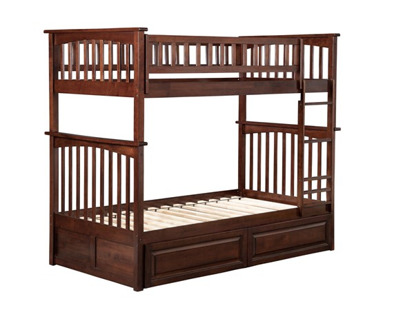 Atlantic Furniture Columbia White Bunk Beds with 2 Raised Panel Drawers AB55-22-24-25-27-BB-VAR