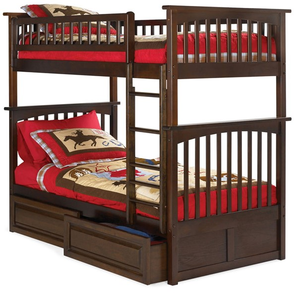 Atlantic Furniture Columbia Walnut Twin Over Twin Bunk Bed with Raised Panel Drawers AB55124