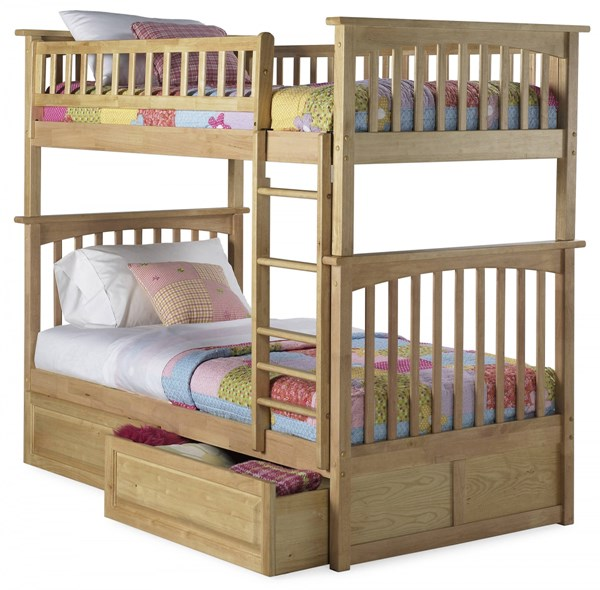 Columbia Natural Maple Twin/Twin Raised Panel Drawers Bunk Bed AB55125