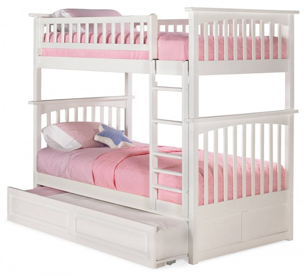 Columbia White Solid Wood Twin/Twin Raised Panel Trundle Bunk Bed AB55132