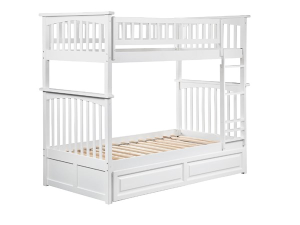 Atlantic Furniture Columbia White Twin Over Twin Bunk Bed with Twin Raised Panel Trundle AB55132