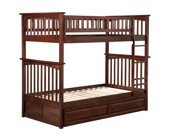 Atlantic Furniture Columbia Walnut Twin Over Twin Bunk Bed with Twin Raised Panel Trundle AB55134