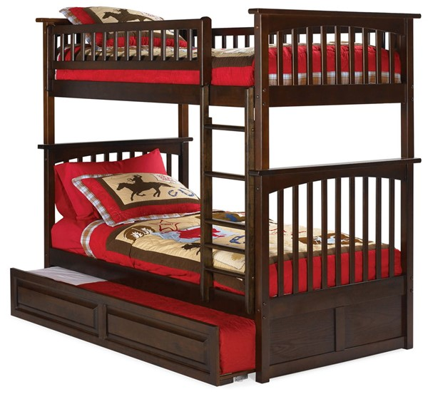 Atlantic Furniture Columbia Walnut Twin Over Twin Bunk Bed with Raised Panel Trundle AB55134