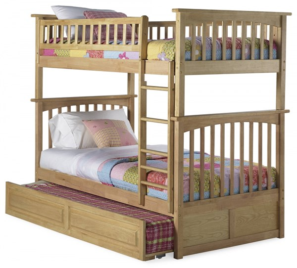 Columbia Natural Maple Wood Twin/Twin Raised Panel Trundle Bunk Bed AB55135