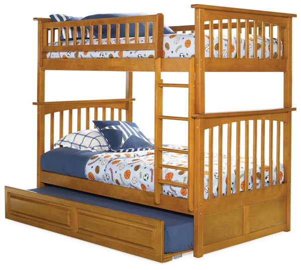 Columbia Caramel Latte Wood Twin/Twin Raised Panel Trundle Bunk Bed AB55137