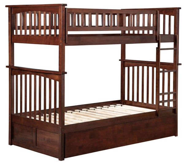 Atlantic Furniture Columbia Walnut Twin Over Twin Bunk Bed with 2 Urban Drawers AB55144