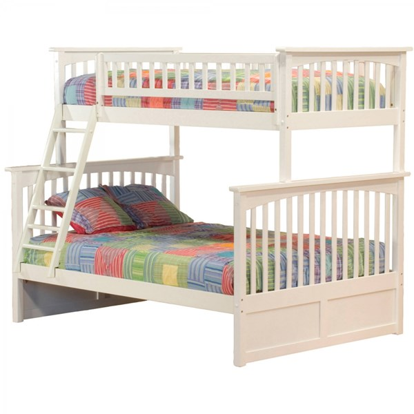 Columbia White Wood Twin/Full Built In Ladder Bunk Bed AB55202