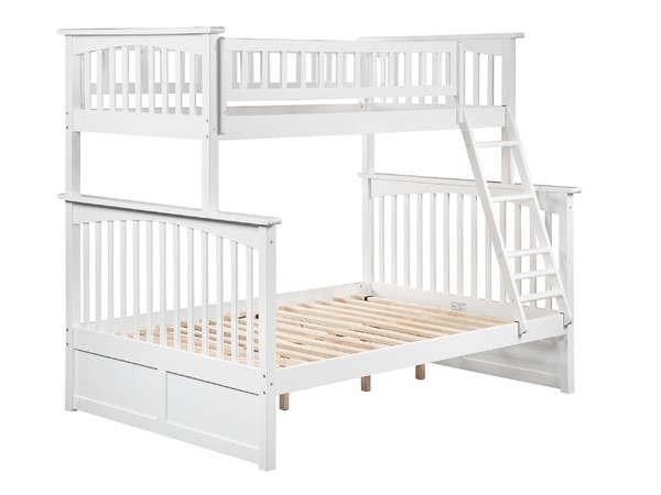 Atlantic Furniture Columbia White Twin Over Full Bunk Bed AB55202