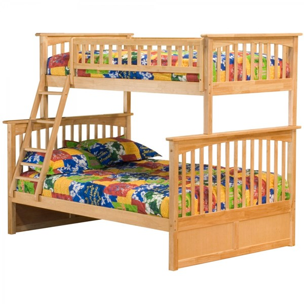 Columbia Natural Maple Wood Twin/Full Built In Ladder Bunk Bed AB55205