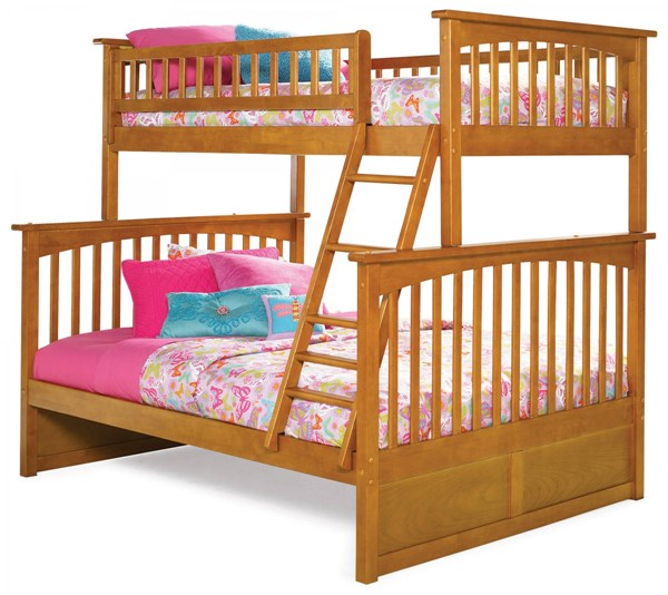 Columbia Caramel Latte Wood Twin/Full Built In Ladder Bunk Bed AB55207