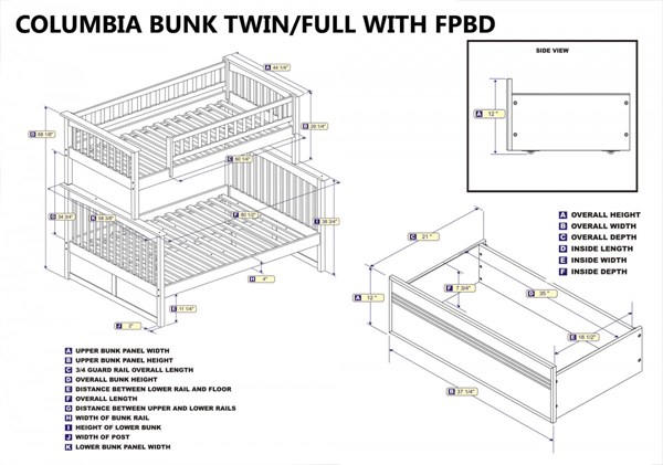 Columbia White Wood Twin/Full Flat Panel Drawers Bunk Bed AB55212