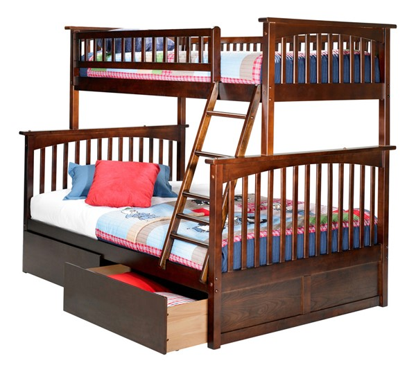 Atlantic Furniture Columbia Walnut Twin Over Full Bunk Bed with Flat Panel Drawers AB55214