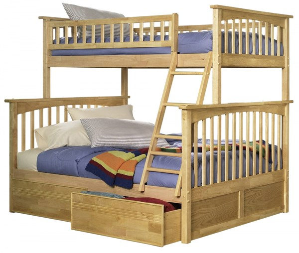 Columbia Natural Maple Wood Twin/Full Flat Panel Drawers Bunk Bed AB55215