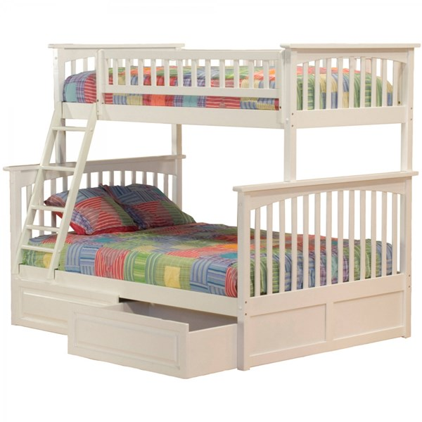 Columbia White Wood Twin/Full Raised Panel Drawers Bunk Bed AB55222