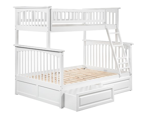 Atlantic Furniture Columbia White Twin Over Full Bunk Bed with Raised Panel Drawers AB55222