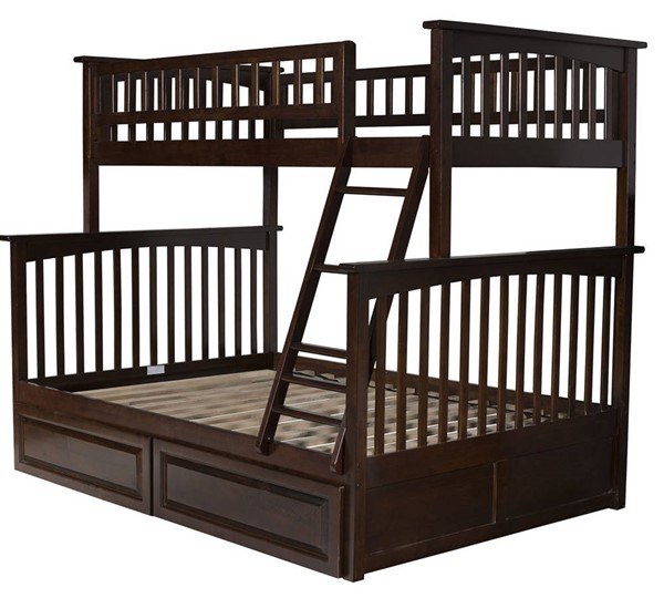 Atlantic Furniture Columbia Walnut Twin Over Full Bunk Bed with 2 Raised Panel Drawers AB55224