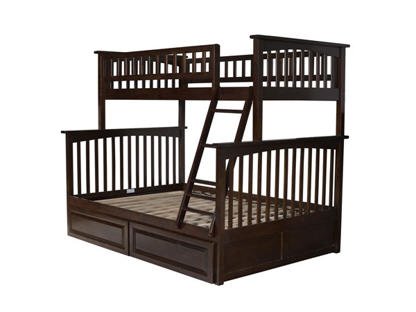 Atlantic Furniture Columbia Walnut Twin Over Full Bunk Bed with Raised Panel Drawers AB55224