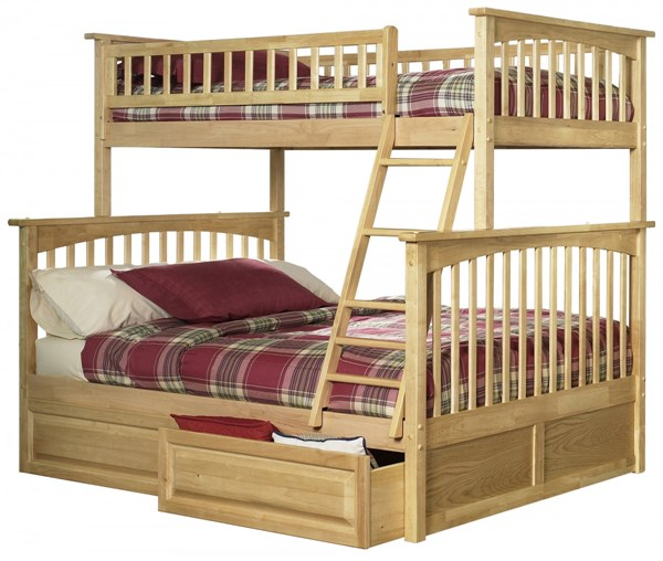Columbia Natural Maple Twin/Full Raised Panel Drawers Bunk Bed AB55225
