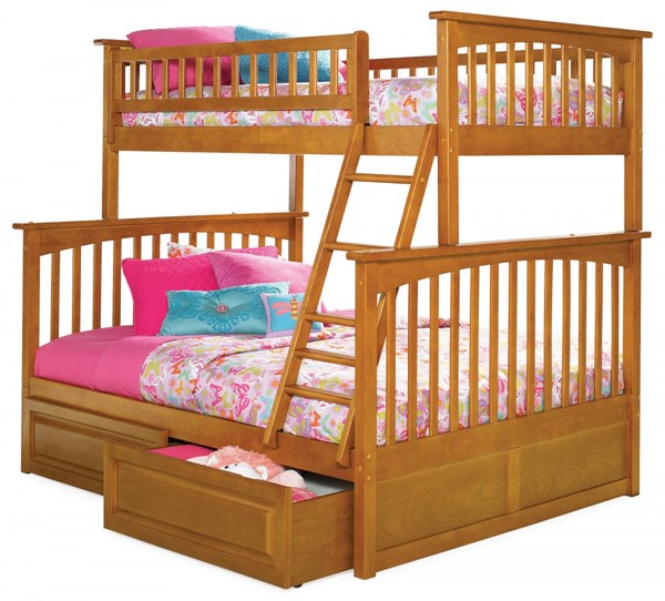Columbia Caramel Latte Twin/Full Raised Panel Drawers Bunk Bed AB55227