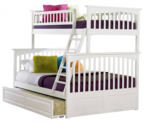 Columbia Classic White Wood Twin/Full Raised Panel Trundle Bunk Bed AB55232
