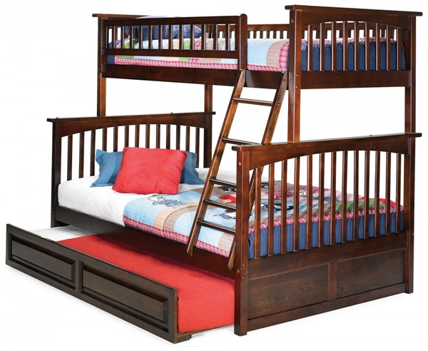 Columbia Antique Walnut Twin/Full Raised Panel Trundle Bunk Bed AB55234
