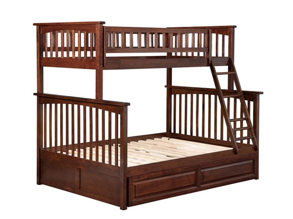 Atlantic Furniture Columbia Walnut Twin Over Full Bunk Bed with Twin Raised Panel Trundle AB55234