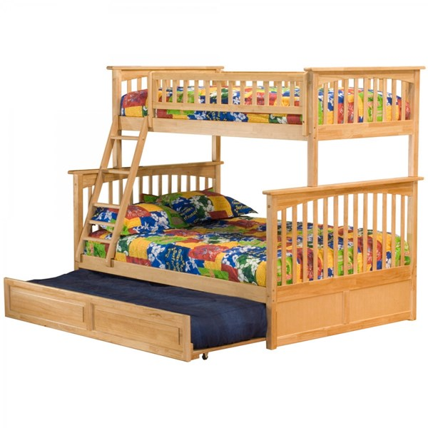 Columbia Natural Maple Wood Twin/Full Raised Panel Trundle Bunk Bed AB55235
