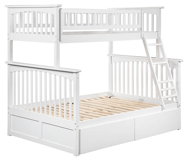 Atlantic Furniture Columbia White Twin Over Full Bunk Bed with 2 Urban Bed Drawers AB55242