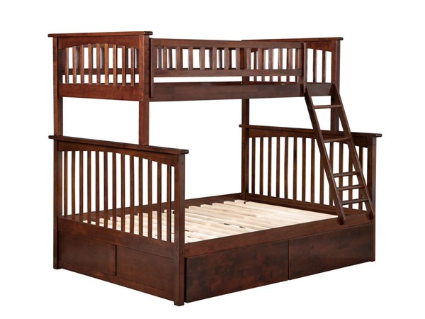 Atlantic Furniture Columbia Walnut Twin Over Full Bunk Bed with 2 Urban Drawers AB55244