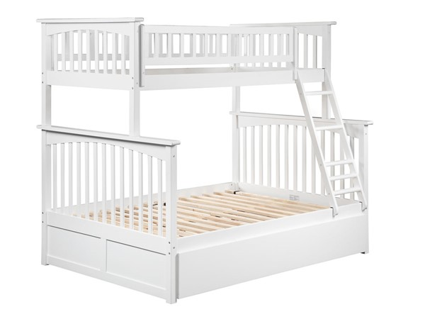 Atlantic Furniture Columbia White Twin Over Full Bunk Bed with Twin Urban Trundle AB55252