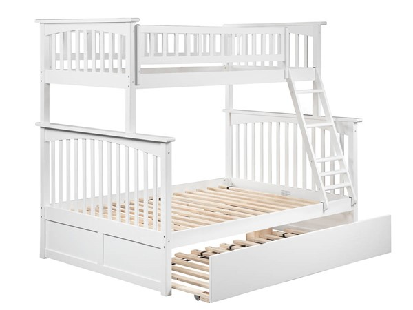 Atlantic Furniture Columbia White Twin Over Full Urban Trundle Bunk Beds AB5527-BB-VAR