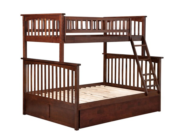 Atlantic Furniture Columbia Walnut Twin Over Full Urban Trundle Bunk Bed AB55274