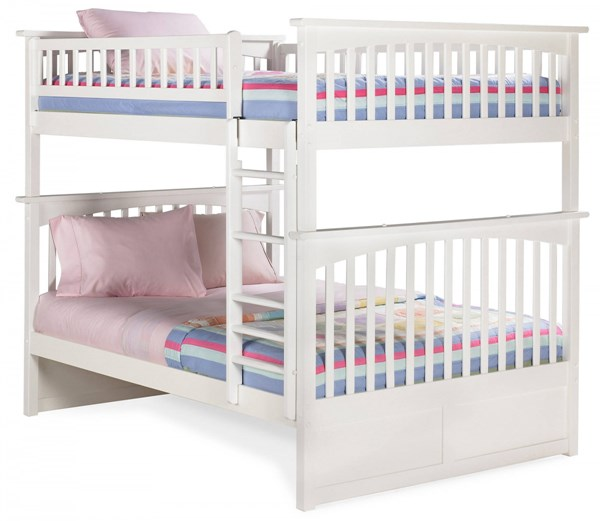 Columbia Classic White Wood Full/Full Built In Ladder Bunk Bed AB55502