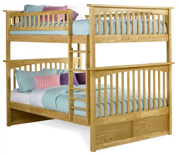 Columbia Natural Maple Wood Full/Full Built In Ladder Bunk Bed AB55505