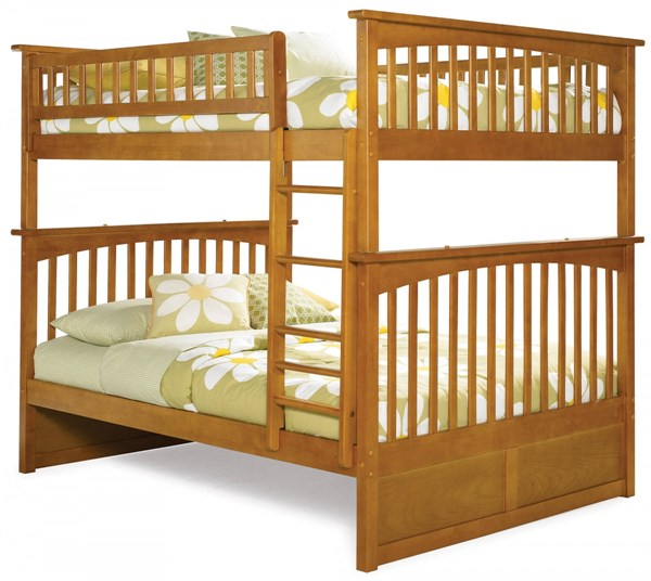 Columbia Caramel Latte Wood Full/Full Built In Ladder Bunk Bed AB55507