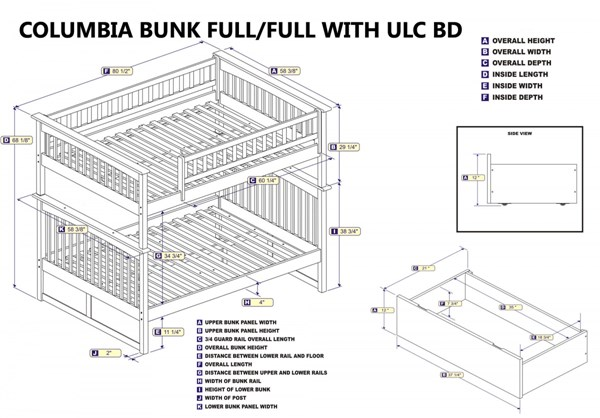 Columbia White Wood Full/Full Flat Panel Drawers Bunk Bed AB55512