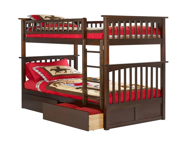 Atlantic Furniture Columbia Walnut Full Over Full Bunk Bed with Flat Panel Drawers AB55514