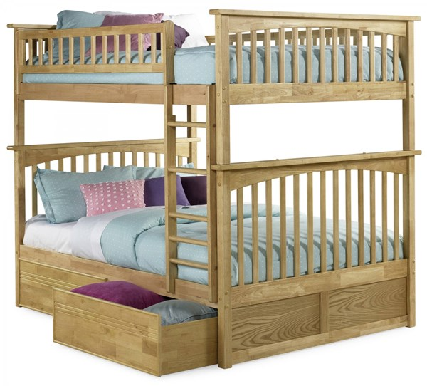 Columbia Natural Maple Wood Full/Full Flat Panel Drawers Bunk Bed AB55515