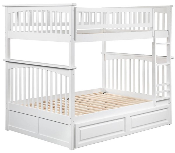 Atlantic Furniture Columbia White Full Over Full Bunk Bed with 2 Raised Panel Drawers AB55522
