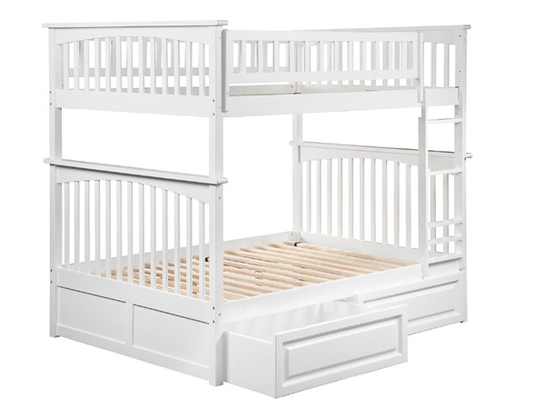 Atlantic Furniture Columbia White Full Over Full Bunk Bed with Raised Panel Drawers AB55522