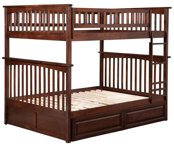 Atlantic Furniture Columbia Walnut Full Over Full Bunk Bed with 2 Raised Panel Drawers AB55524