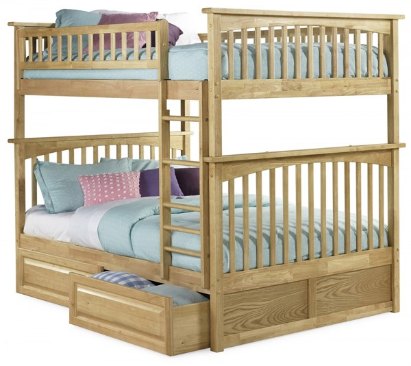 Columbia Natural Maple Full/Full Raised Panel Drawers Bunk Bed AB55525