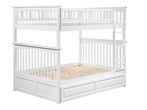 Atlantic Furniture Columbia White Full Over Full Bunk Bed with Twin Raised Panel Trundle AB55532